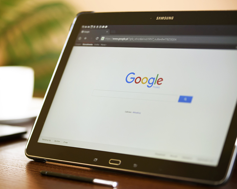 Google search homepage displayed on a tablet